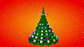 Christmas tree animation. At snowfaal night backgound stock footage