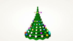 Christmas tree animation. At snowfaal night backgound stock video