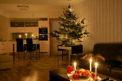 Christmas tree in apartment Stock Photo