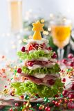 Christmas tree appetizer stock photography