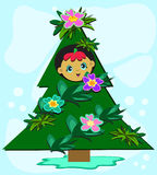 Christmas Tree Baby Royalty Free Stock Photography