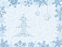 Christmas Tree Background. Blue Christmas Tree With Two Balls In Snowflake Frame Stock Images