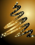 Christmas tree background. Gold Christmas tree made of stars Royalty Free Stock Image