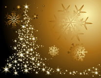 Christmas tree background. Gold Christmas tree background made of stars Stock Photos