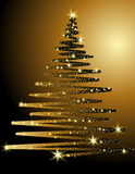 Christmas tree background. Gold Christmas tree background made of stars Stock Photo