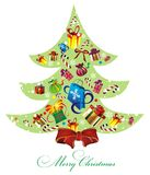 Christmas tree background. Christmas  background with tree and gifts Royalty Free Stock Photo