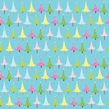 Christmas tree background. Christmas seamless background with trees and stars Vector Illustration