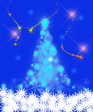 Christmas tree background. Abstract illustration of blue Christmas tree background with snowflakes Stock Image