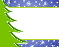 Christmas Tree Background. A clip art background illustration featuring half a Christmas tree set against a decorative snowflake bordered background with ample Stock Photos