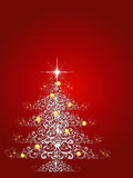 Christmas Tree Background. Ornamental Christmas tree with red background.  Room for text Stock Image