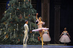 The Christmas tree in the background-The Ballet  Nutcracker Royalty Free Stock Images