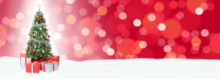 Christmas tree background banner snow red decoration copyspace c Stock Photos