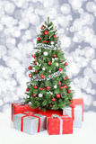 Christmas tree background banner snow stars decoration Stock Image
