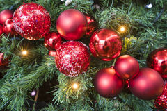 Christmas tree background with baubles Royalty Free Stock Image