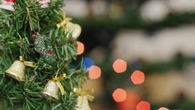 Christmas tree at background blurred night lights stock footage