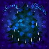 Christmas tree on background with bokeh Royalty Free Stock Images