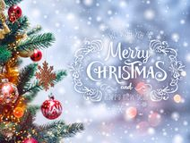 Christmas tree background and Christmas decorations with blurred. Sparking, glowing and text Merry Christmas and Happy New Year. Xmas theme Royalty Free Stock Image