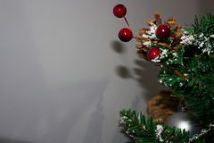 Christmas tree background and Christmas decorations stock photo