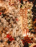 Christmas tree background and Christmas decorations with light, blurred, bokeh, glowing. Happy New Year and Xmas theme, selective focus stock images