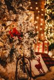 Christmas tree background and Christmas decorations with light, blurred, bokeh, glowing. Happy New Year and Xmas theme, selective focus stock photos