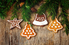 Christmas tree background with Christmas tree and gingerbread sh Royalty Free Stock Images