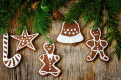 Christmas tree background with Christmas tree and gingerbread sh Royalty Free Stock Image