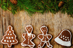 Christmas tree background with Christmas tree and gingerbread sh Stock Photography