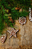 Christmas tree background with Christmas tree and gingerbread sh Stock Images
