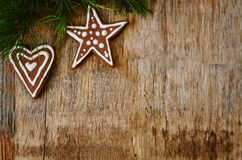 Christmas tree background with Christmas tree and gingerbread sh Stock Image