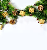 Christmas tree background, cones and toys on a white background Stock Image