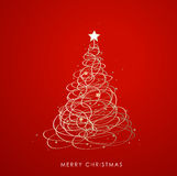 Christmas tree background created from golden ribbons Royalty Free Stock Image