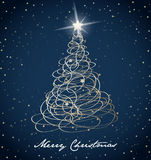 Christmas tree background created from golden ribbons Stock Image