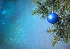 Christmas tree background and Christmas decoration with colored ball, blurred, sparkling, glowing. Happy New Year and Royalty Free Stock Image
