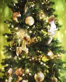Christmas tree background and Christmas decorations stock image