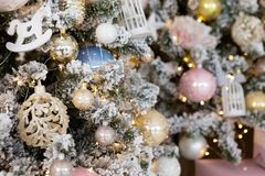 Christmas tree background and Christmas decorations royalty free stock photography