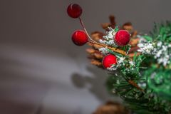 Christmas tree background and Christmas decorations. With snow, blurred, sparking, glowing. Happy New Year and Xmas theme Royalty Free Stock Photo