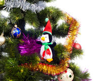 Christmas Tree background with different toys Royalty Free Stock Image