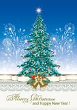 Christmas tree. On the background of fireworks Royalty Free Stock Photo