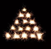 Christmas tree background of fireworks Royalty Free Stock Photo