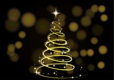 Christmas Tree. Christmas background. Gold Christmas tree as a symbol of Happy New Year, Merry Christmas holiday. The Magic Christmas Tree. Christmas background Royalty Free Stock Photography
