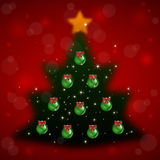Christmas tree with background. Illustration of fuzzy Christmas tree with top star and balls on red bokeh background Vector Illustration