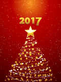 Christmas tree and 2017 background. Christmas Tree Made of Golden Stars and Decorations Over Festive Red Background with 2017 Date and Golden Snow Royalty Free Stock Photography