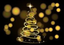 Christmas Tree. Christmas background. Neon Gold Christmas tree as a symbol of Happy New Year, Merry Christmas holiday. The Magic Christmas Tree. Christmas Royalty Free Stock Photo