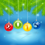 Christmas Tree Background with 2014. New Year's Tree Background with 2014 inscription in Christmas balls Stock Photography