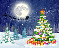 Christmas tree on the background of night sky Royalty Free Stock Image