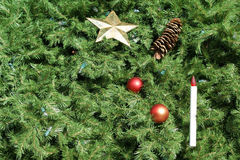 Christmas Tree Background. With ornaments and lights. Great for use as background Royalty Free Stock Image