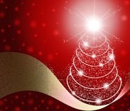 Christmas Tree Background. Christmas red background. Greeting card with a Christmas tree. 2015 Stock Photo