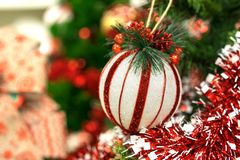 Christmas tree background with red and white ball.  stock image