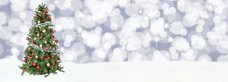 Christmas tree background snow stars decoration copyspace copy s Royalty Free Stock Photos