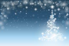 Christmas tree background. With snowflakes Stock Photos
